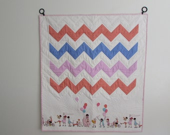 Chevron Baby/Toddler Quilt-Children at Play