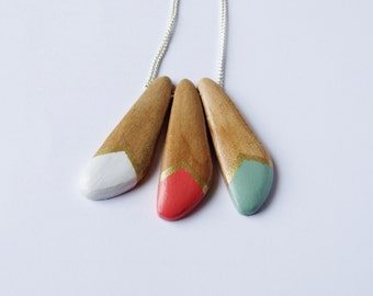 Geometric Wooden Bead Sterling Silver Necklace, white, peach, green and gold.