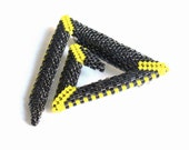Yellow and Grey Brooch, Beaded Triangle Pin, Large Sparkling Pin, Modern Spiral Brooch, Geometric Bar Pin, Bead Art Jewelry, Etsy UK Seller