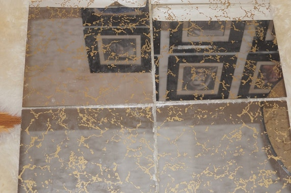 70s Mid Century Modern Gold Veined GLASS MIRROR TILES / 1970s