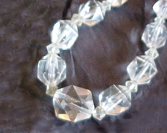 Crystal Necklace on Sterling Silver Chain - Faceted Vintage Crystal Glass Beads - Graduated Clear Beads