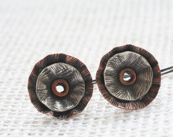 Copper and sterling poppy earrings, ready to ship, OOAK