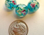 Lampwork Blue Flower Encased Round 12 mm - 4 Pieces