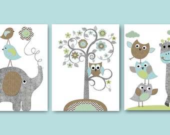 Childrens Art Kids Wall Art Nursery Art Baby Boy Room Baby Boy Nursery Kids Art Elephant Nursery Giraffe Nursery Prints set of 3 Grey