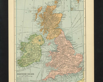 Vintage Map British Isles United Kingdom Great Britain England Ireland Scotland From 1926 Original