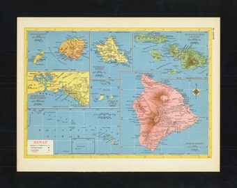 Vintage Map Hawaii From 1953 Original