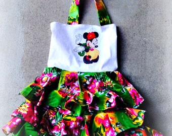 Minnie Mouse, Hawaiian, Summer, OTT, Pageant, OOC, Boutique Style size Ruffle dress NB 3  6 9 12 24 months, size 2 3 4 5T