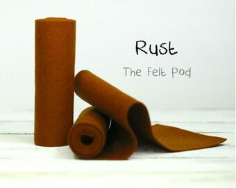 "100 Percent Wool Felt Roll in Color RUST - 5"" X 36"" Wool Felt Roll - 100% Wool Felt - Brown Wool Felt"