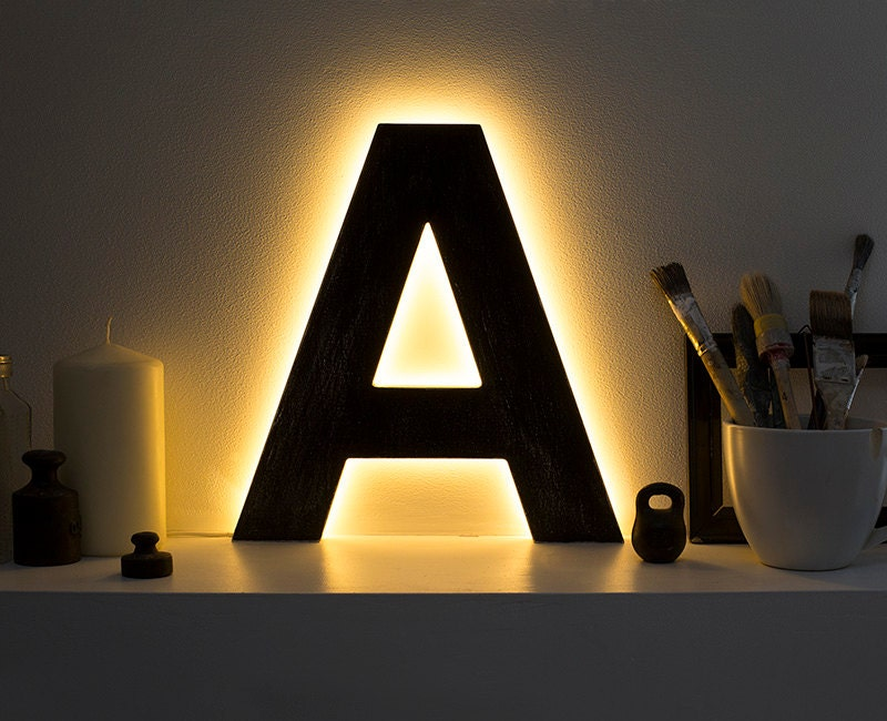 led lamps letter lights light up initials led home decor With letter light decor