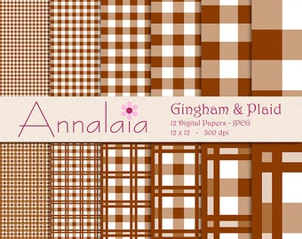 INSTANT DOWNLOAD Digital Paper Pack: Chocolate Brown and White Gingham Plaid Checks Squares 12x12 8,5x11 Scrapbook Paper 394