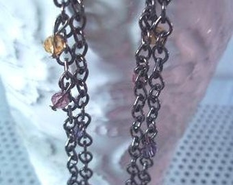 Long black chains earrings with crystal