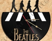 Wall Clock Beatles in Abbey Road Version1Theme Vinyl Record Clock home decoration housewares Upcycled Gift Idea