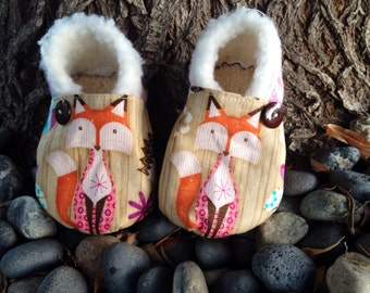 Fuzzy Fox booties. Available in 0-18mo.