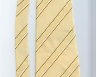 Vintage striped yellow, gold, and white mens necktie