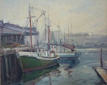 Fishing boats, Gloucester, Mass. Original oil painting by Carl W. Illig, plein aire, subject recalls Gruppe