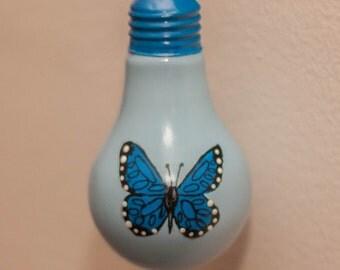 Blue Butterfly Bulb Ornament