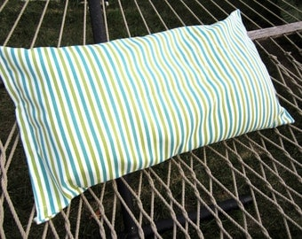 Outdoor Hammock Pillow Cover- 14x26 Blue and Green Striped Hammock Pillow- Velcro Hooks on Back