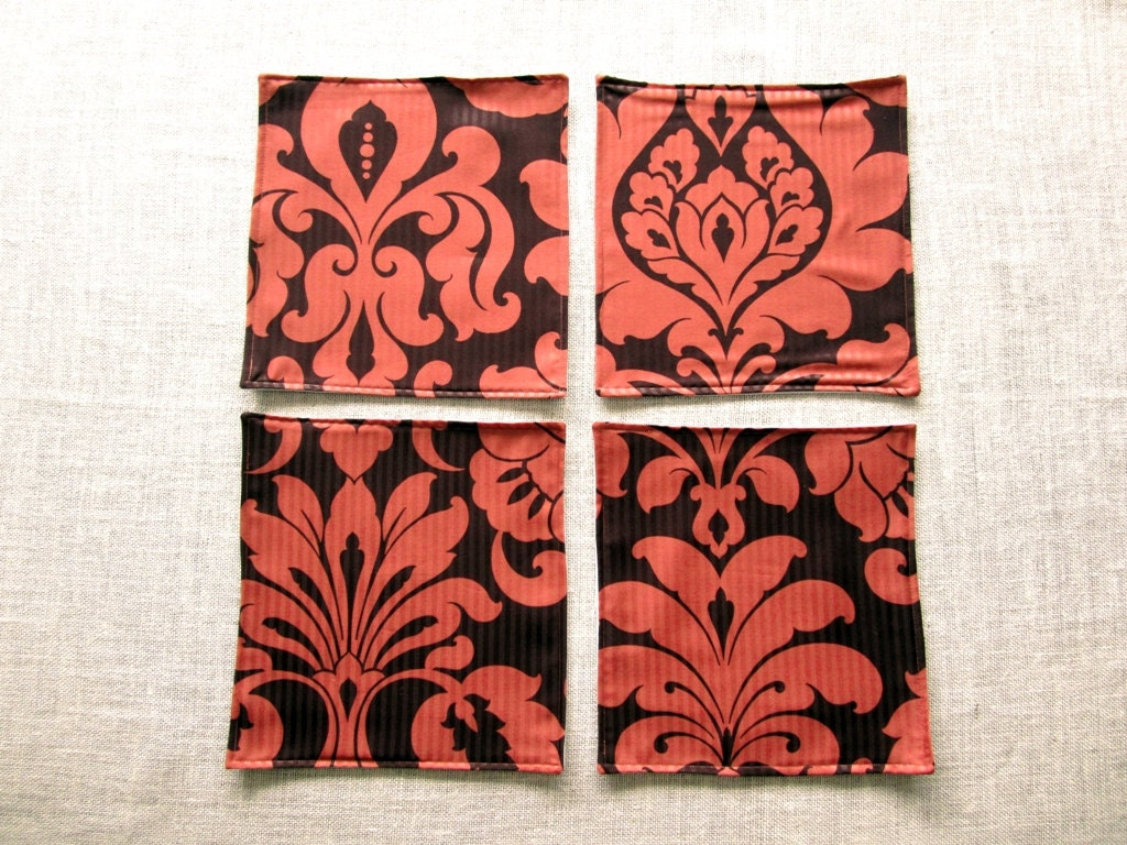 Orange damask placemats 12x12 small space table mats set of 4 for Small square placemats