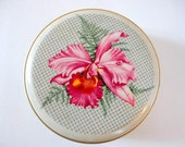 Vintage Round Metal Tin Pink Floral and Gold 1950s Small Retro storage tin by metrocottage