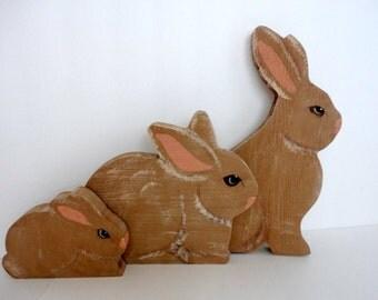 Vintage Wood Bunny Hand painted  Kawaii Easter bunny Set of 3 Papa Mama Baby Cottage Shabby chic decor