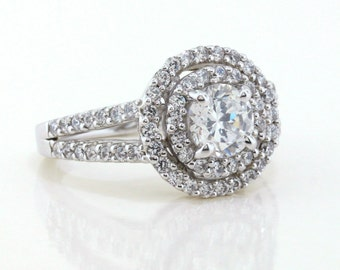 Double Halo Engagement Ring Split Shank Band - Drita