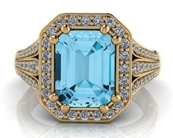 Blue Topaz Halo Engagement Ring