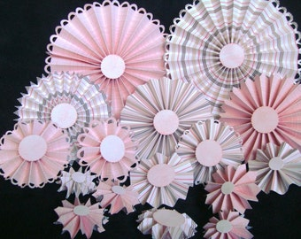 Pink rosettes, Baby Pink, Striped Rosettes, scalloped, variety of sizes,18 pieces, handmade by Wcards