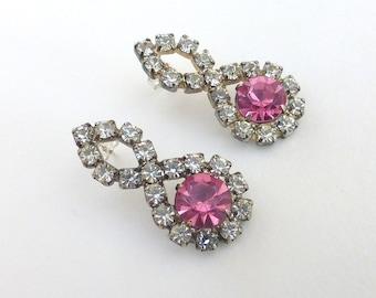 1950's Repurposed Vintage Pink and White Rhinestone Crystal Drop Post Earrings