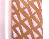 Lined Journal Hand Stamped Moleskine Cahier, Pink and White Triangles, Kraft, Pocket Size, Ready to ship, Teen Girl, Stocking Stuffer