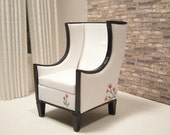 Made-to-order 1:12 scale Modern Square Miniature Wing Chair