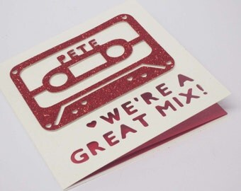 Mixed tape / Retro Cassette / Engagement / Wedding / Valentine's / Love papercut personalised card
