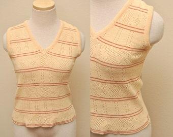60s Womens Tan Striped Sweater Vest Medium