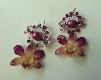 Maverick Jewels-real Orchid Earrings