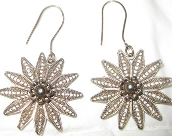 Silver Starburst Earrings Pierced 925 Vermeil Sterling Silver Gold Wash Filigree Pierced Dangling Dangle Earrings