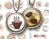 COFFEE SPIRIT 1 inch & 1.5 inch circles Digital Collage Sheet Printable Download for pendants magnets