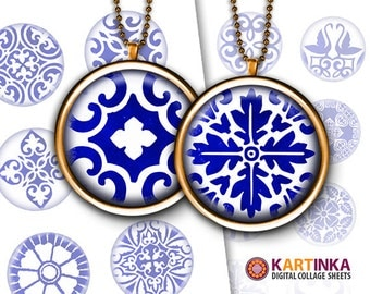 1 inch (25mm) & 1.5 inch Printable Download COBALT BLUE ORNAMENTS Images for Pendants Bottle caps Round bezel cabs Mountings cameo settings
