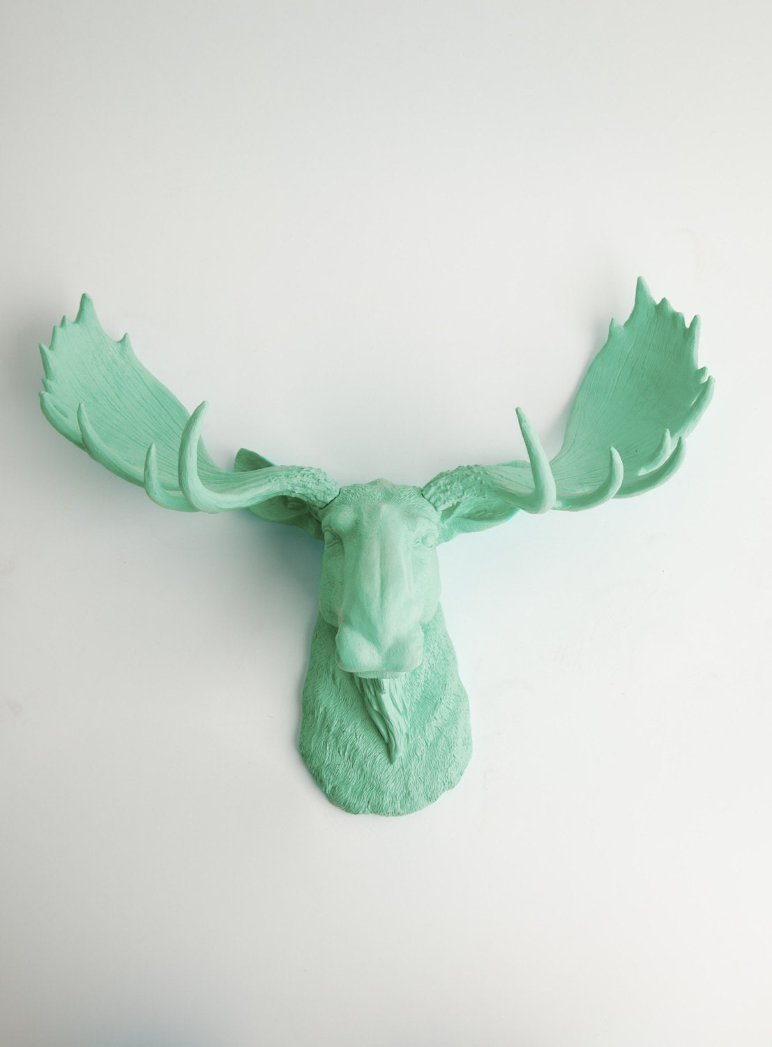 Moose head wall mount the albany seafoam resin chic wall - Fake moose head mount ...