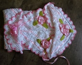 Baby Blanket. Afgan. Soft cotton. Hand Crochet. Christening, Baptism Gift. Any size. Any colours. Any flowers.