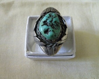 Powerful Vintage Native American Sterling Silver Men's Turquoise Ring - Size 12 3/4 U.S.