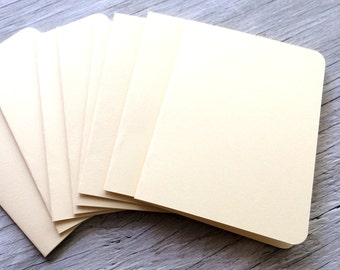 Blank note cards rounded corners  set of 4 off white cream
