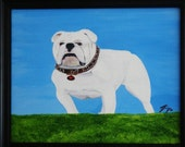 English Bulldawg Against Blue Sky  - Large Framed 16 x 20 Original Painting - Last day at this SALE price