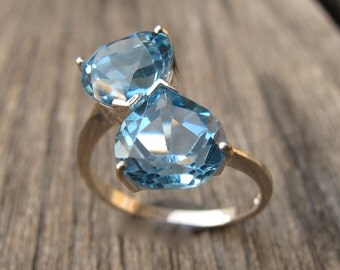 Swiss Blue Topaz Ring- Dual Statement Ring- Double Gemstone Ring- December Birthstone Ring- Trillion Shaped Anniversary Ring- Unique Ring