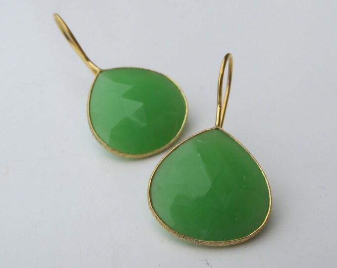 Chrysoprase Earring- Gemstone Earring- Stone Earring- Green Stone Earring- Silver Earring- Green Earring- Mint Green Earring- Earring