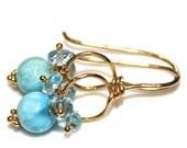 Caribbean Larimar Earrings Sky Blue Topaz Gold Wire Loop Earrings Everyday Jewelry Larimar Jewelry Beach Inspired Gemstone Bright  Jewelry