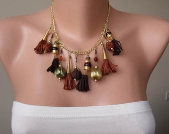 CHRISTMAS, HOLIDAY GIFT, Gifts For Her, Gifts For Women Brown Tassel and Bead Necklace - Speacial Handmade Design