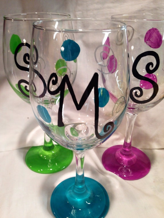 Monogrammed wine glass initial wine glass birthday glass for Painted wine glasses with initials