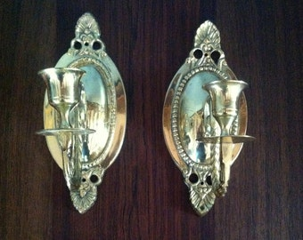 Set of 2 Decorative Gold Wall Sconce Candle Holders