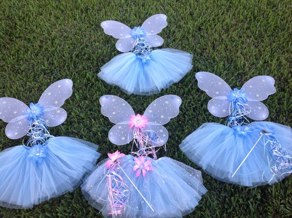 10 Disney Frozen Party Favors, Fairy Princess Wings, Fairy Princess Tutus, Frozen Fairy Wands, Tinkerbell Party Set Favors