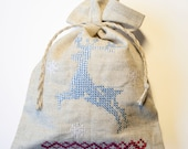 Linen gift bags  gray linen  personalized Christmas tote bag set of 3
