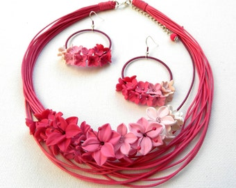 Hot Pink Flower Jewelry Flower Necklace Statement Necklace Romantic Necklace Handmade Necklace Earrings Set Ombre Jewelry Gift For Her